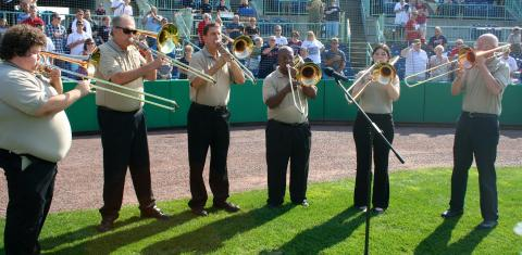 YACCB Trombones 2013 playing the National Anthem at the Scrappers baseball game August 11th.